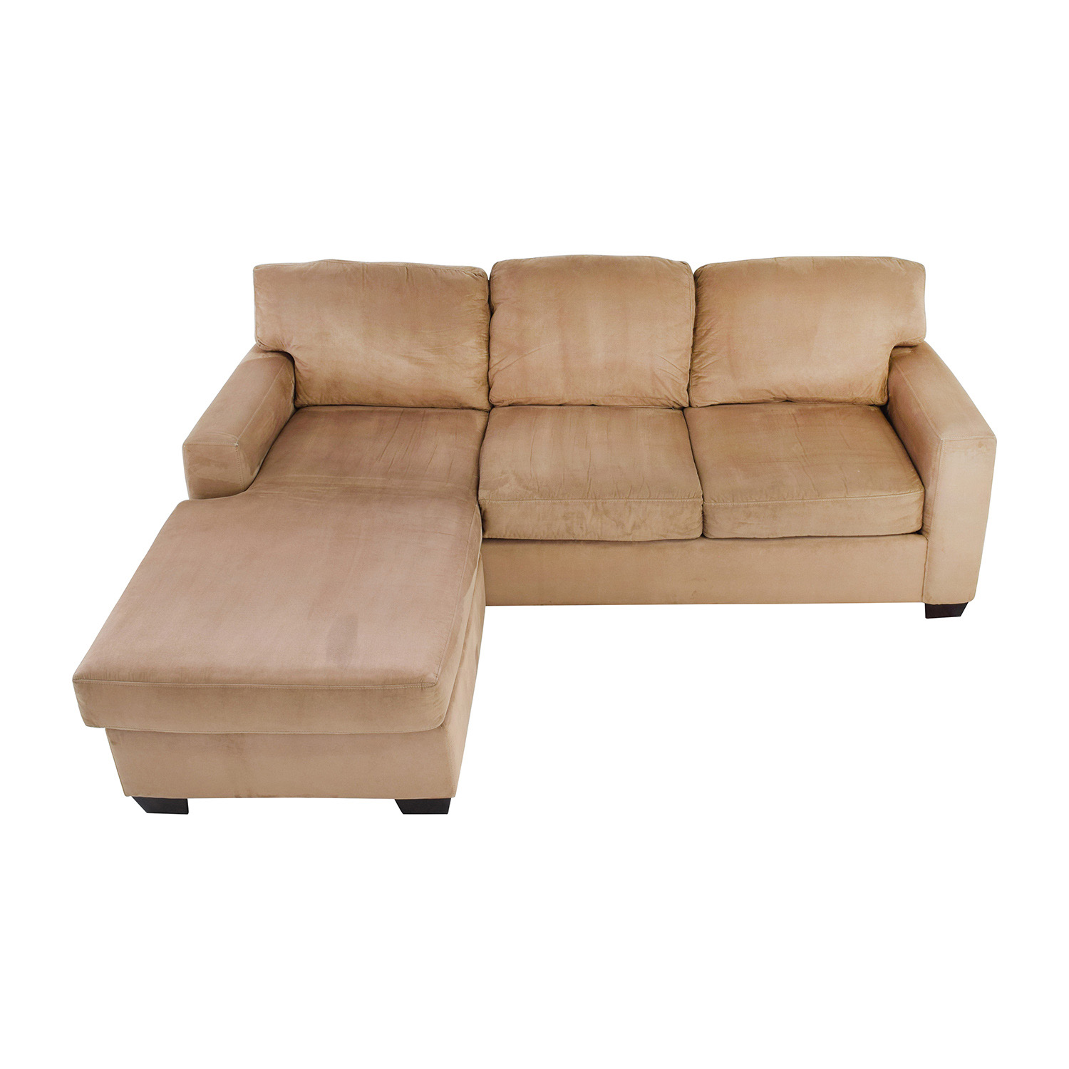 75 off max home max home tan sectional chaise sofa sofas for Chaise and sofa