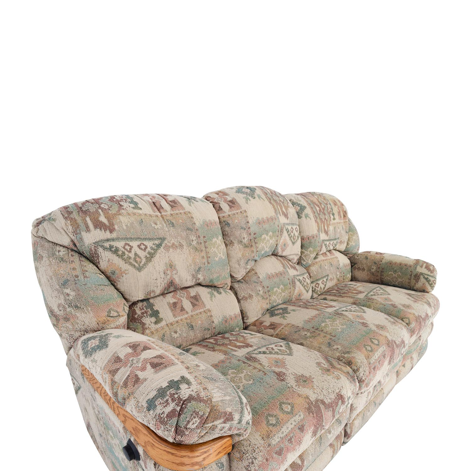 82 Off Patterned Fabric Recliner Sofa Sofas