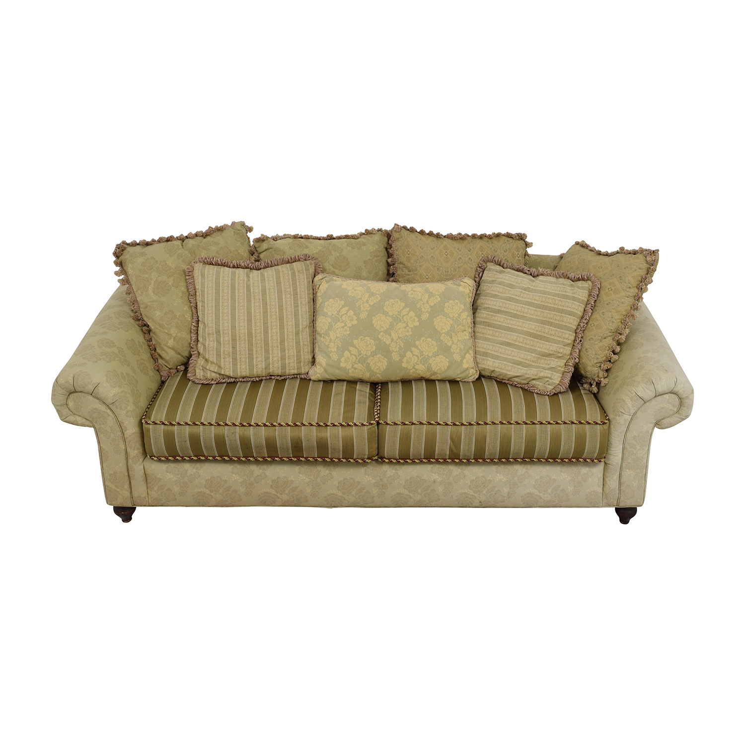 Domain NYC Domain NYC Multi-Patterned Green Floral and Stripe Sofa on sale