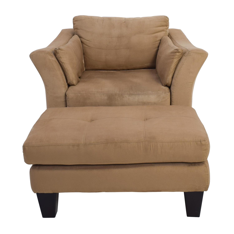 48% OFF   Jennifer Furniture Jennifer Convertible Brown Armchair With  Ottoman / Chairs