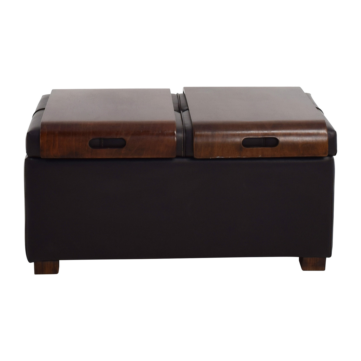 Raymour & Flanigan Storage Ottoman with two trays sale - Ottomans: Used Ottomans For Sale