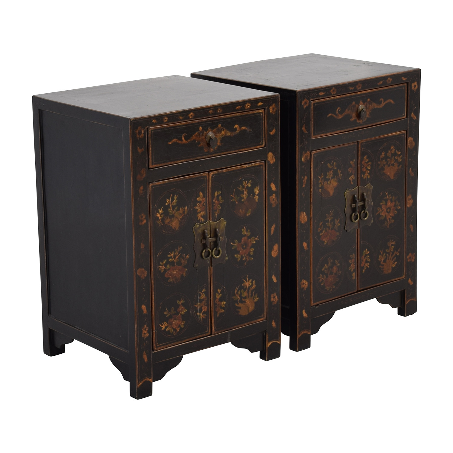 Off antique wood side tables with floral design