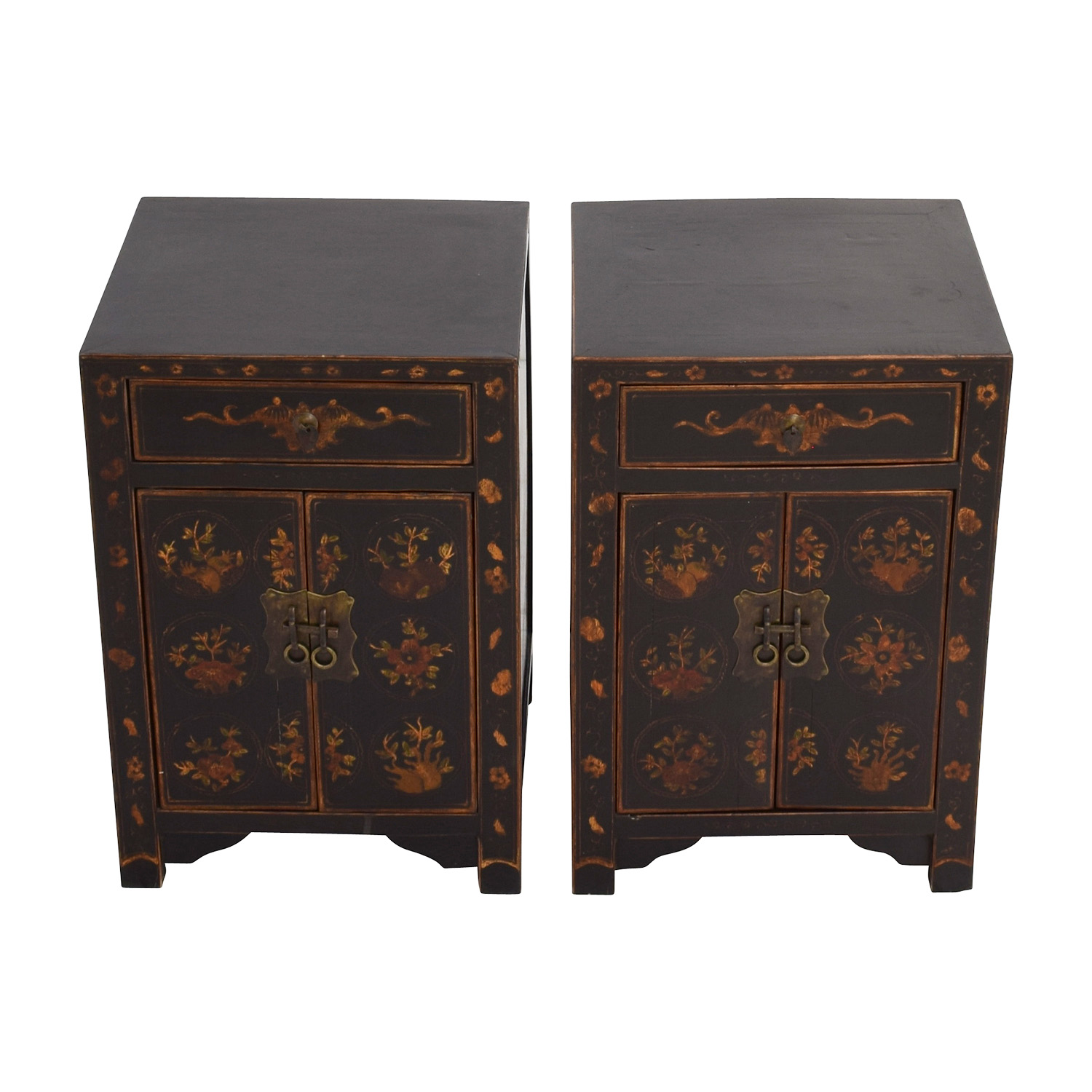 Antique Wood Side Tables with Floral Design