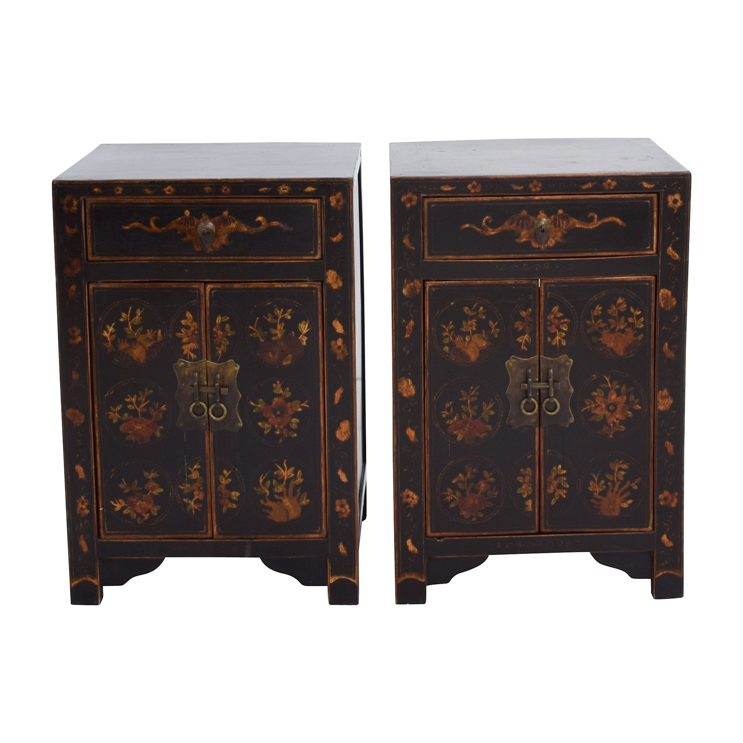 Antique Wood Side Tables with Floral Design sale