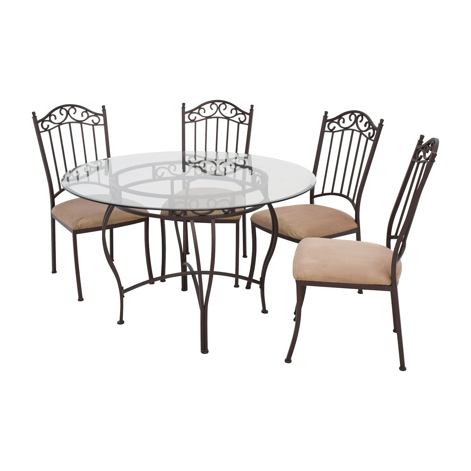Wrought Iron Round Glass Table And Chairs / Tables