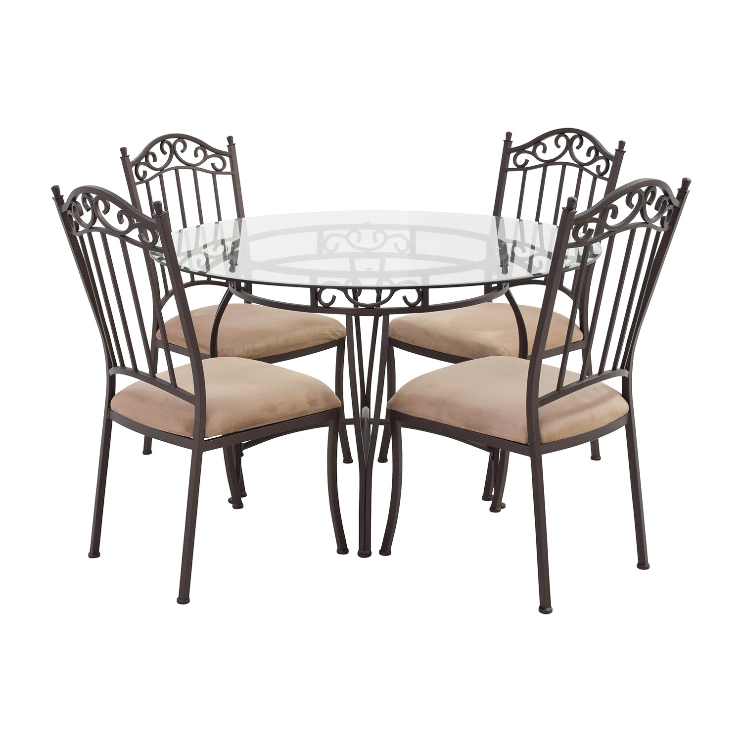 72 off wrought iron round glass table and chairs tables for Iron furniture