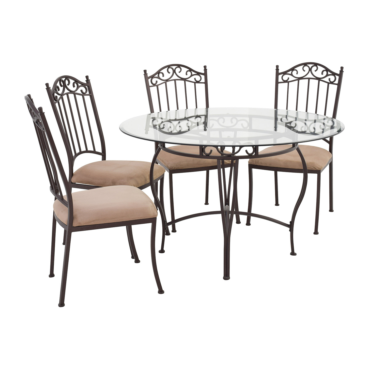 Secondhand Chairs And Tables: Wrought Iron Round Glass Table And Chairs / Tables
