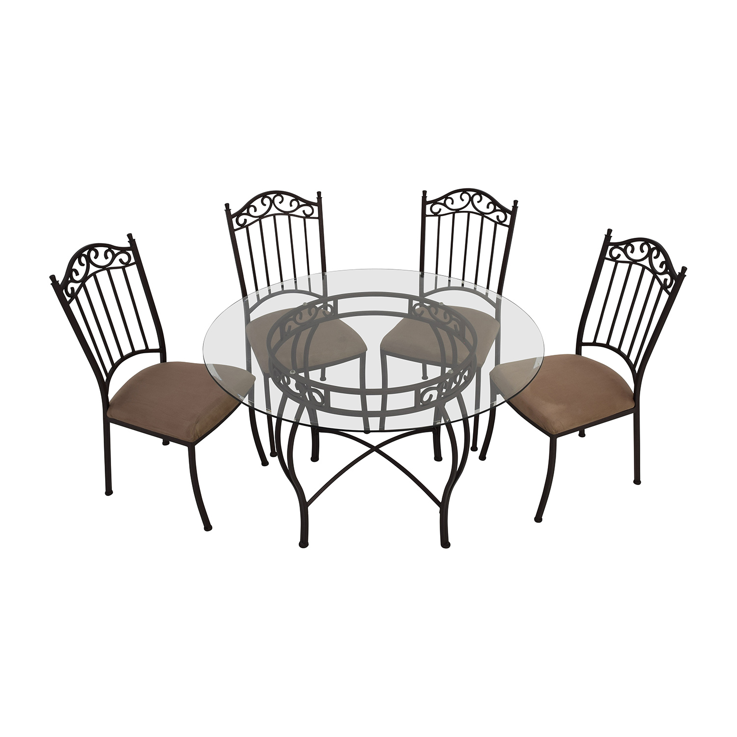 72% OFF Wrought Iron Round Glass Table and Chairs Tables