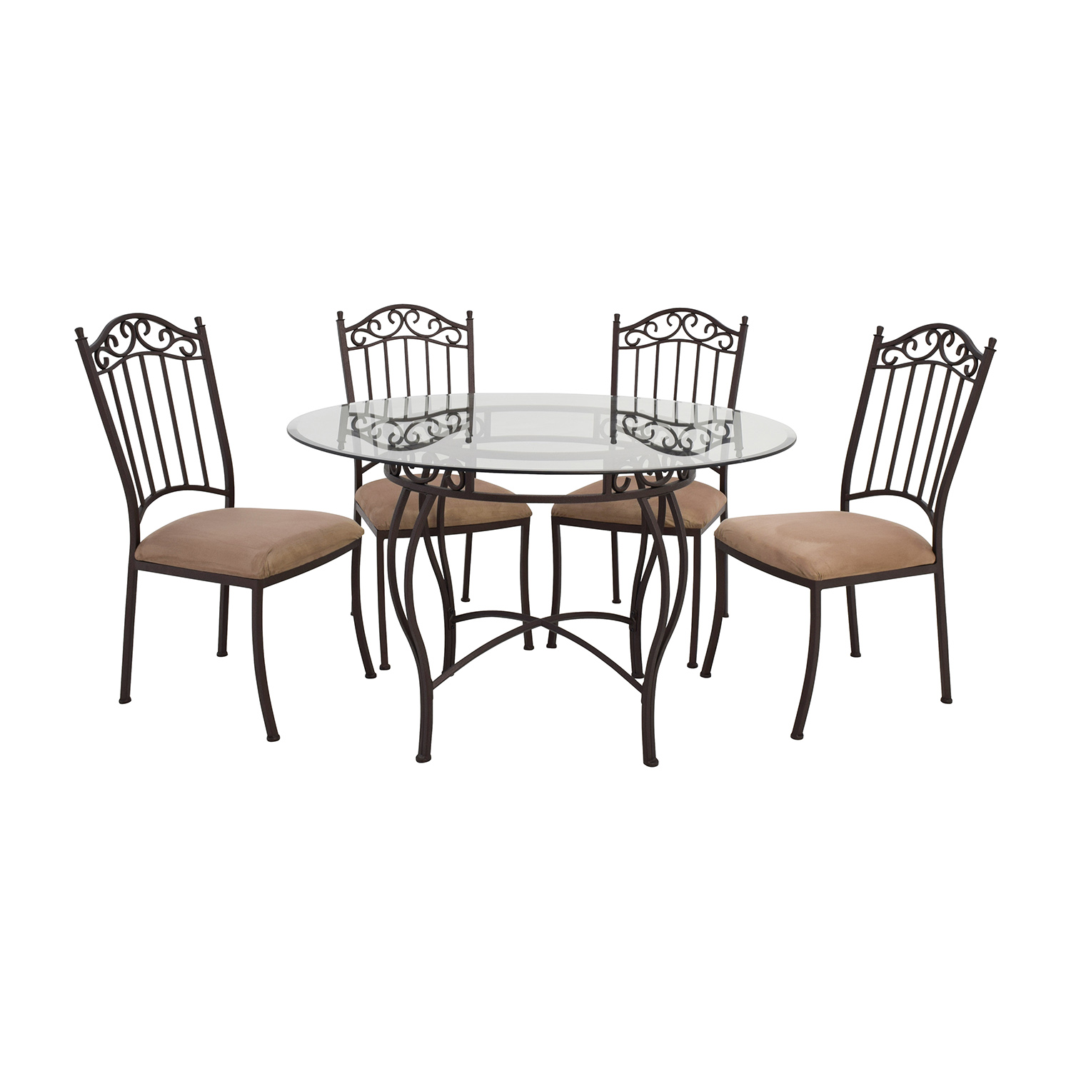 72 off wrought iron round glass table and chairs tables for Round glass dining table set