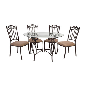 Wrought Iron Round Glass Table and Chairs coupon