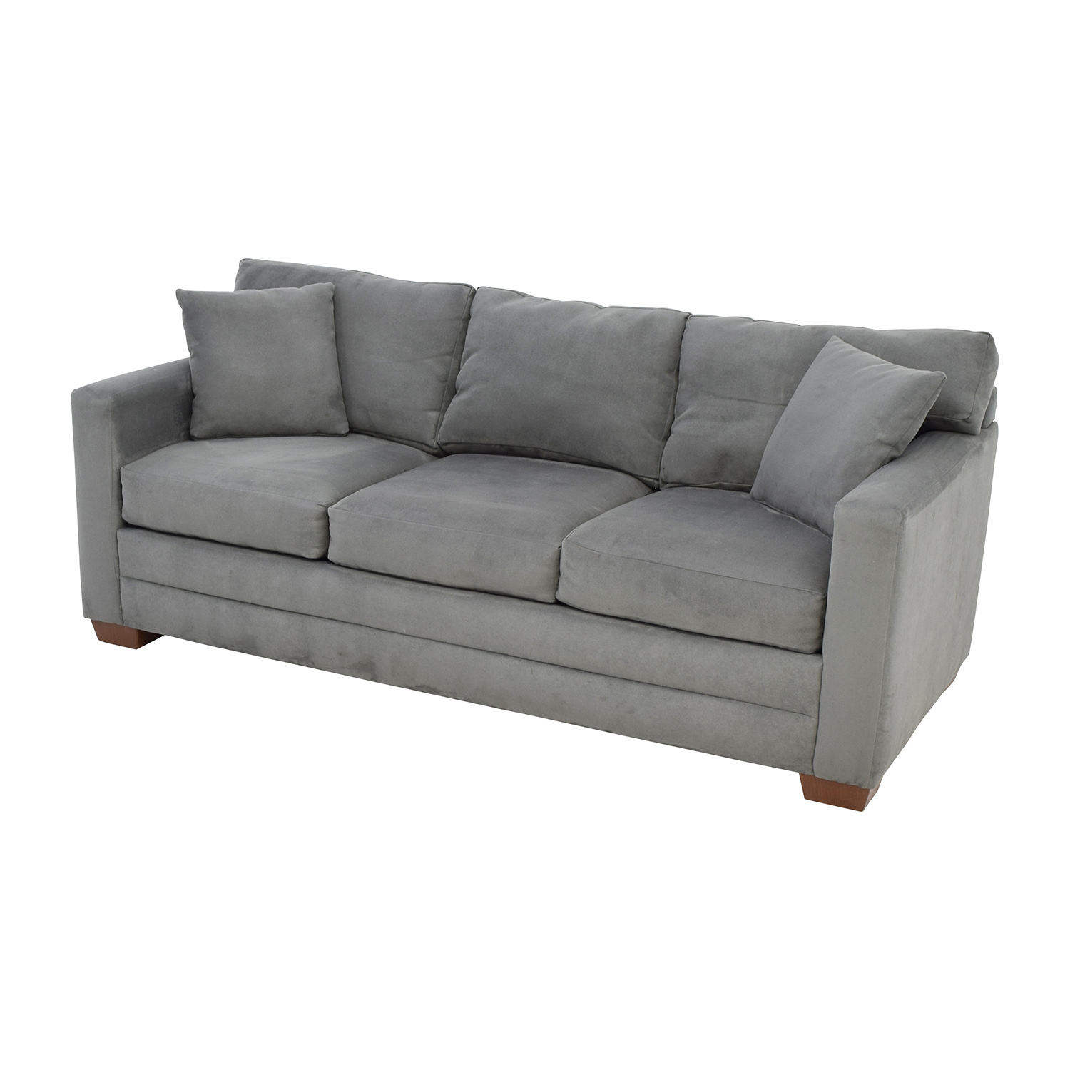 72 off jensen lewis jensen lewis dark grey microsuede for Grey microsuede sectional sofa