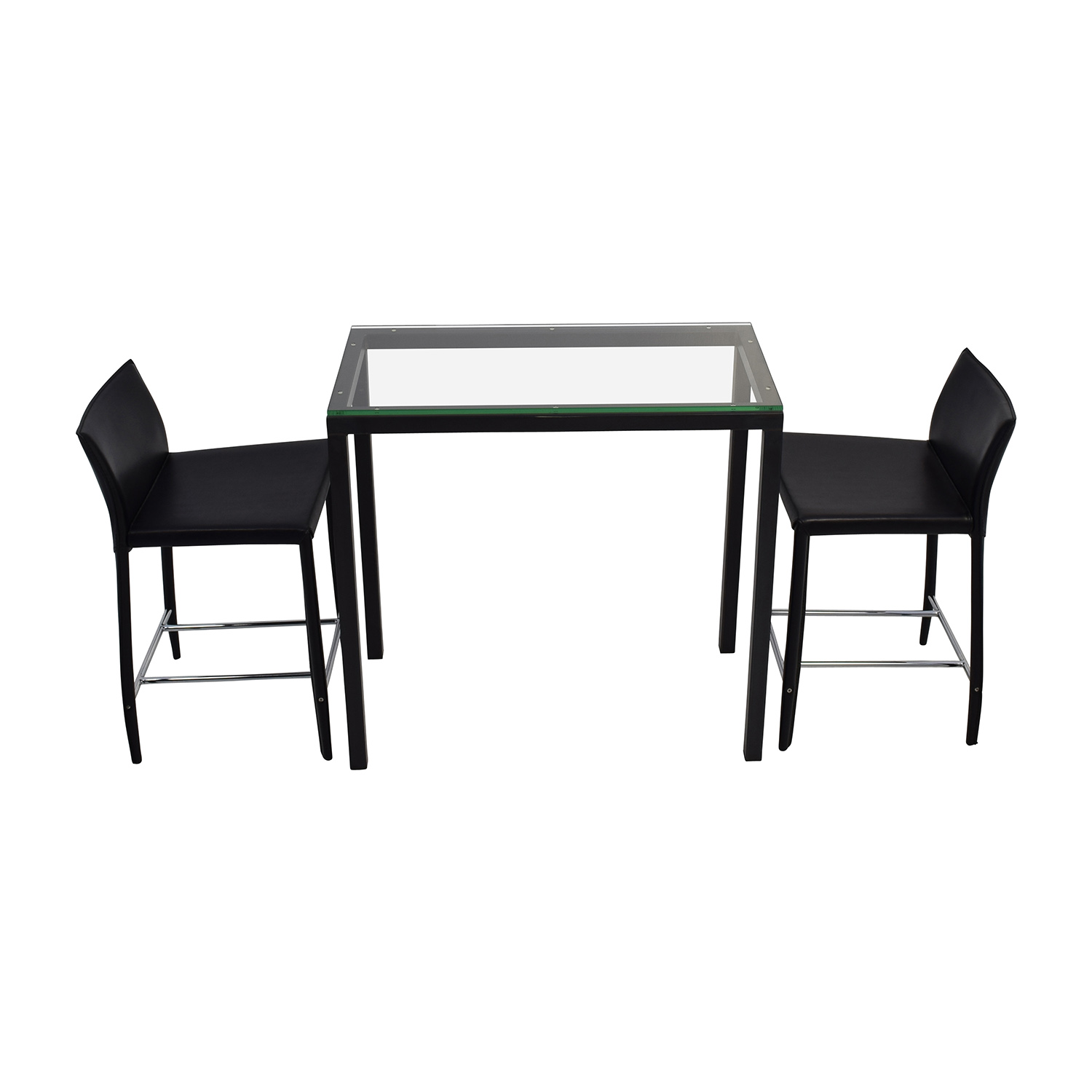 Room & Board Counter Glass Table and Black Leather Stools Room & Board