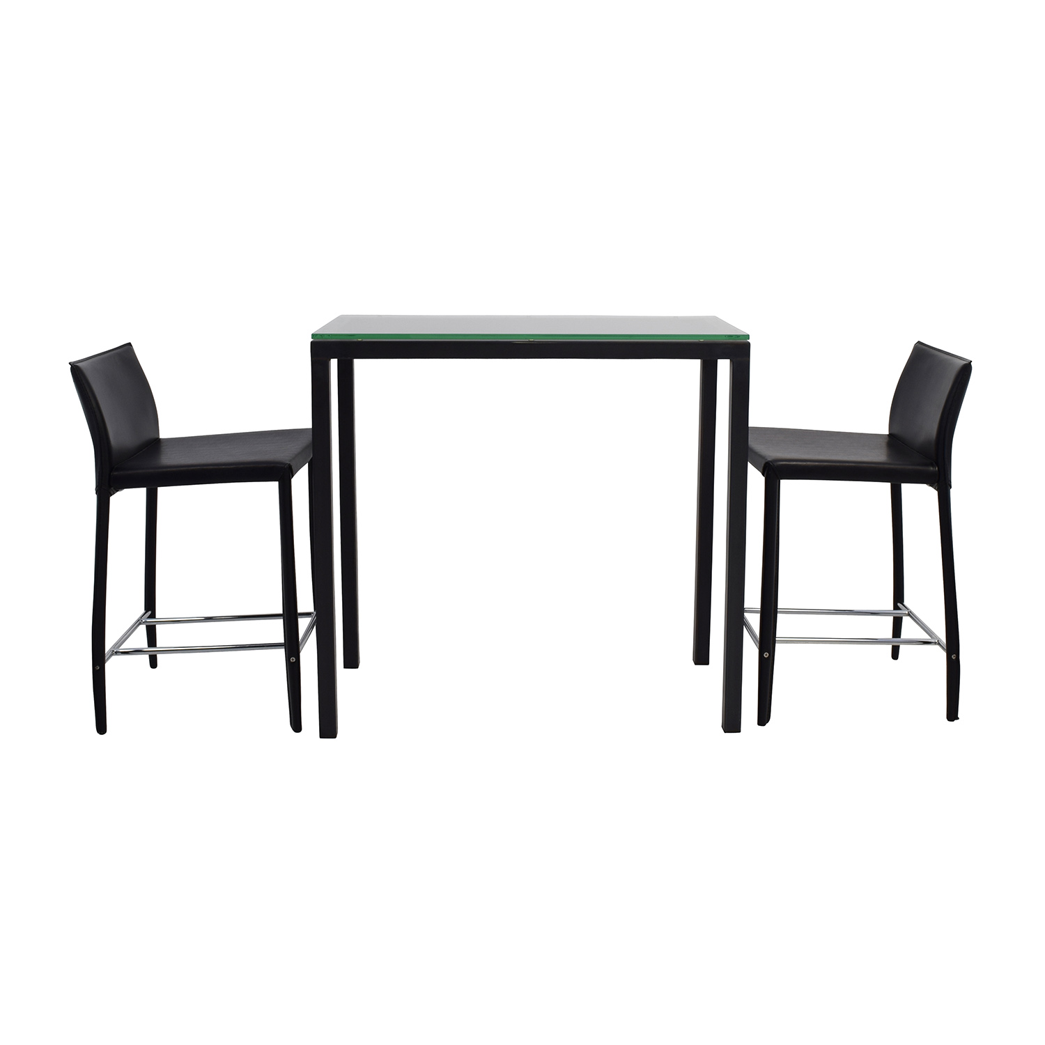 Room & Board Room & Board Counter Glass Table and Black Leather Stools nj