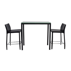 Room & Board Room & Board Counter Glass Table and Black Leather Stools nyc