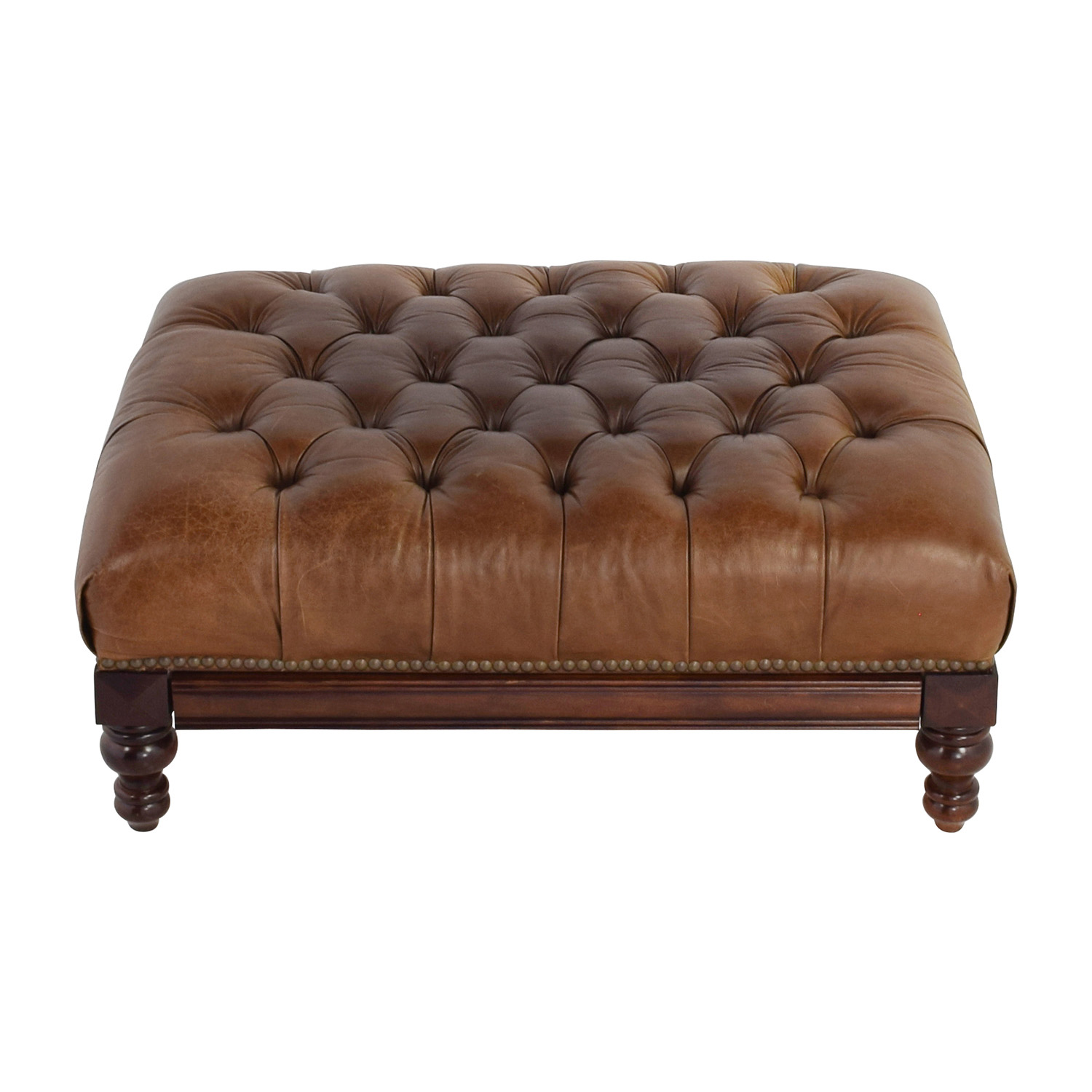 77 Off Antique Tufted Leather Ottoman With Secret