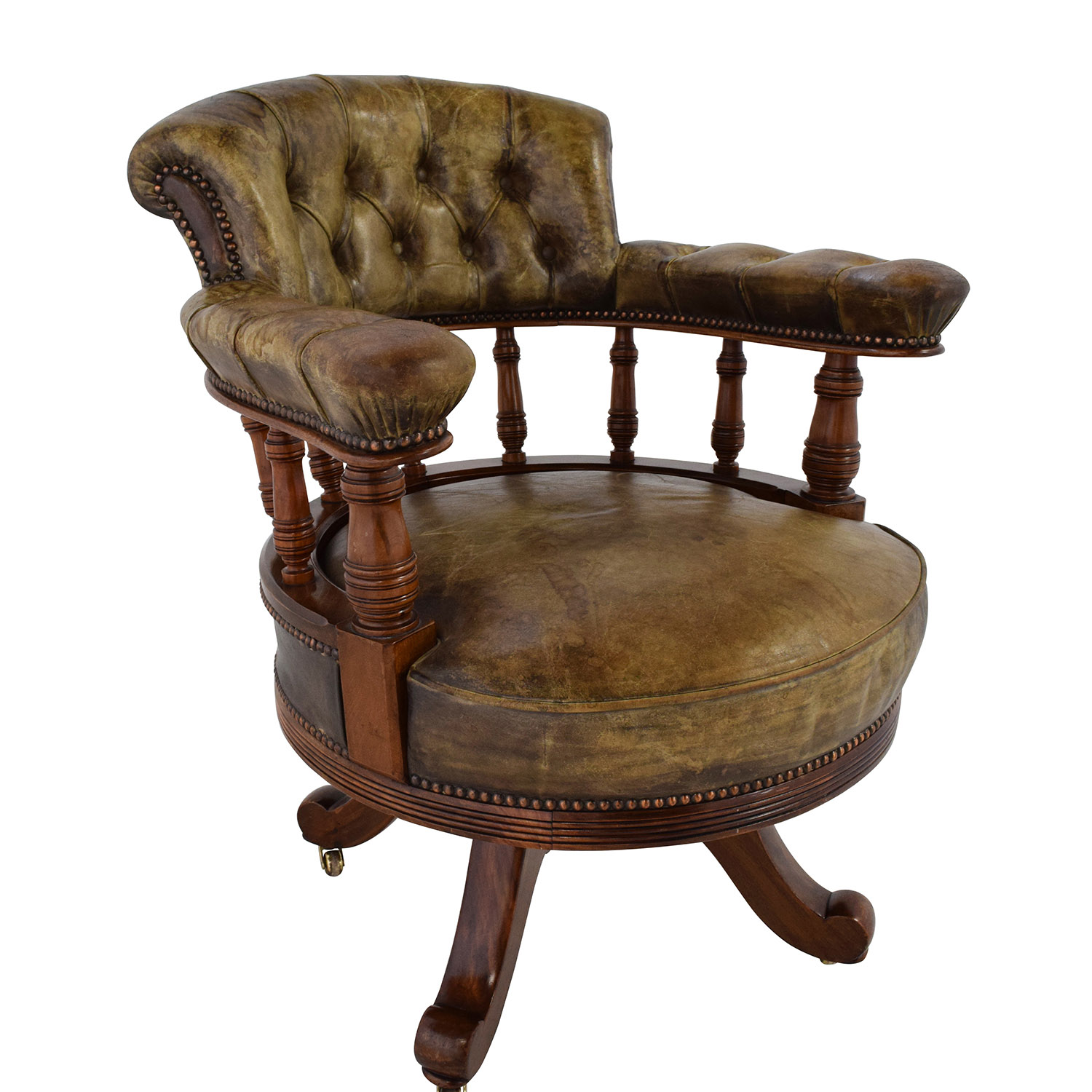 86% OFF Antique Antique Leather Captain s Chair Chairs