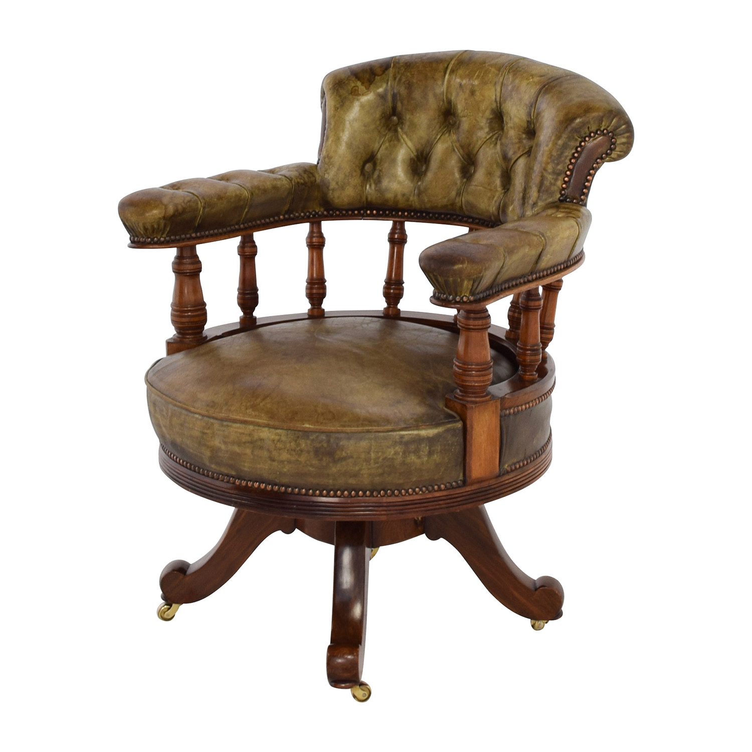 86 Off Antique Antique Leather Captain S Chair Chairs