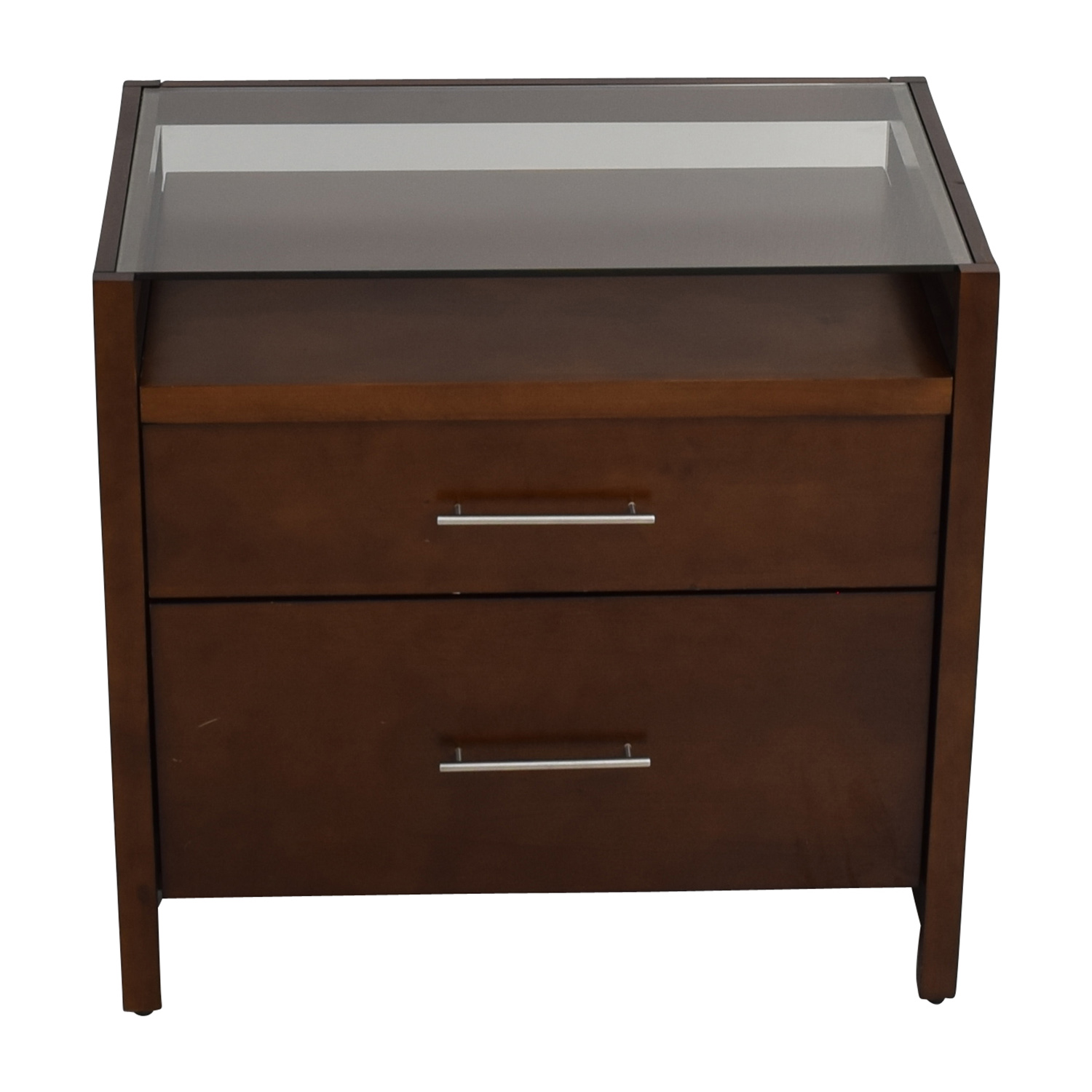 77 off crate and barrel crate barrel brown desk with two drawers tables. Black Bedroom Furniture Sets. Home Design Ideas