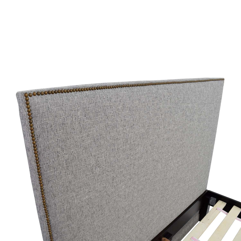 ... West Elm Nailhead Grey Upholstered Headboard Queen Bed West Elm ...