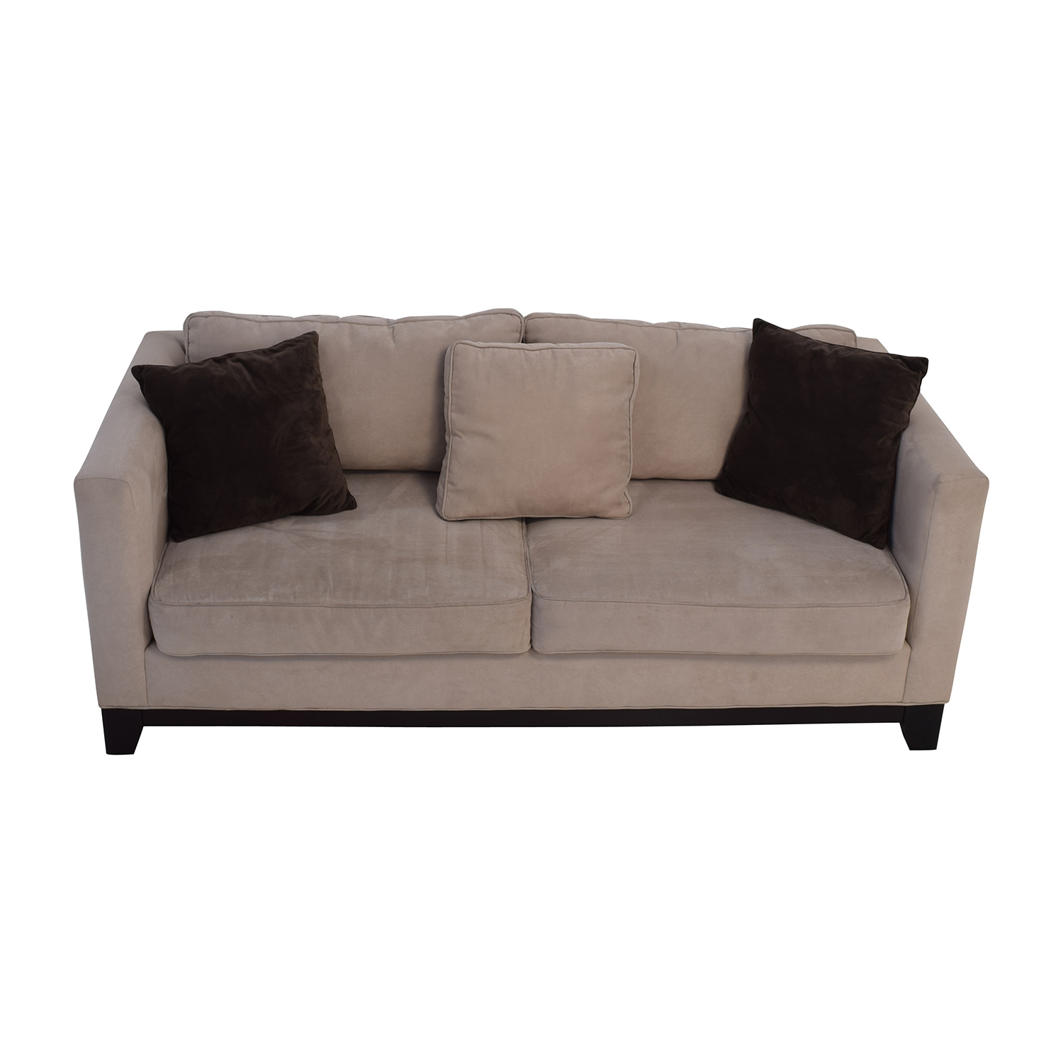 60% OFF - Bauhaus Bauhaus Beige Microsuede Couch with Toss Pillows / Sofas