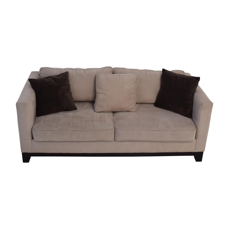 Bauhaus Bauhaus Beige Microsuede Couch with Toss Pillows second hand