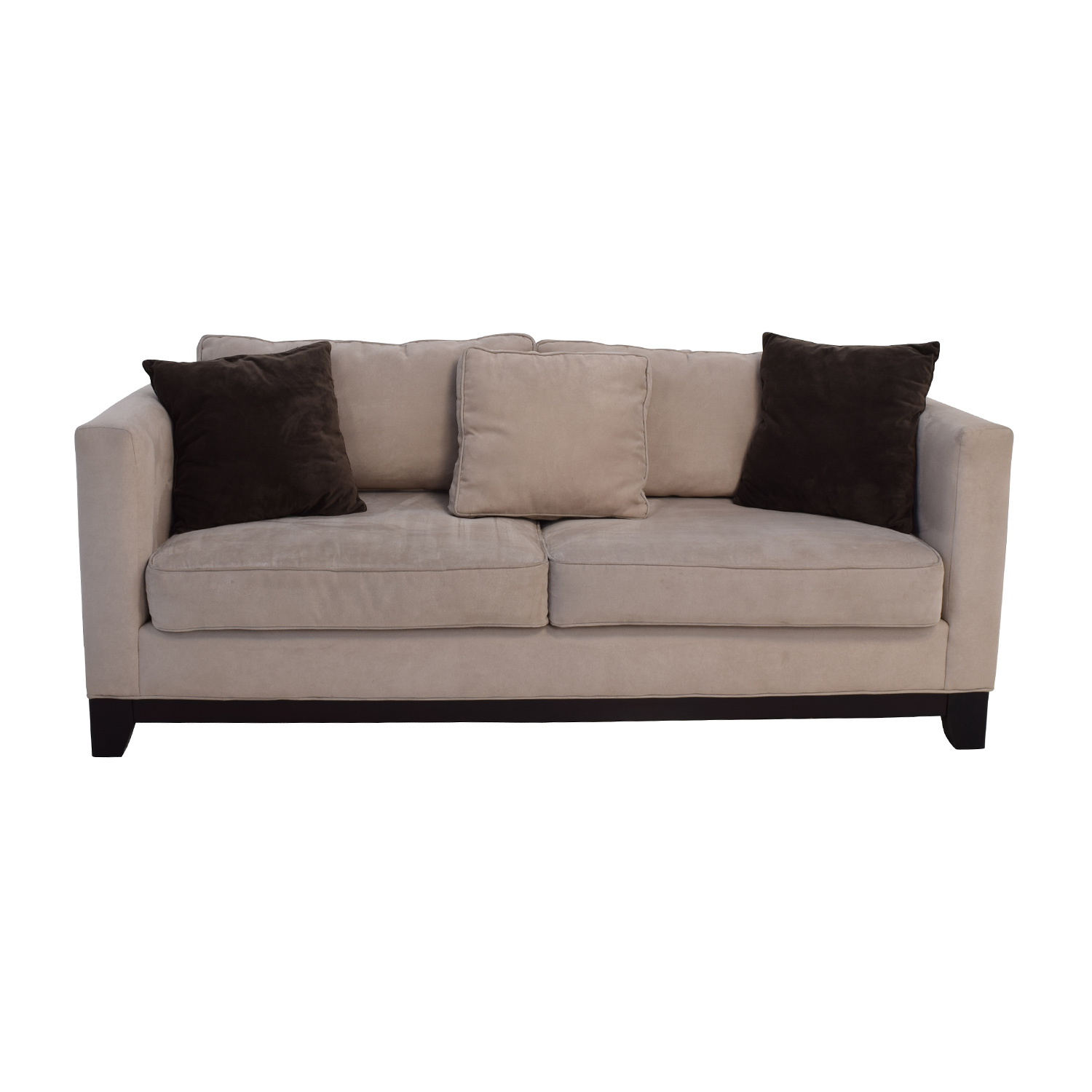60 off bauhaus bauhaus beige microsuede couch with toss for Bauhaus sofa bed