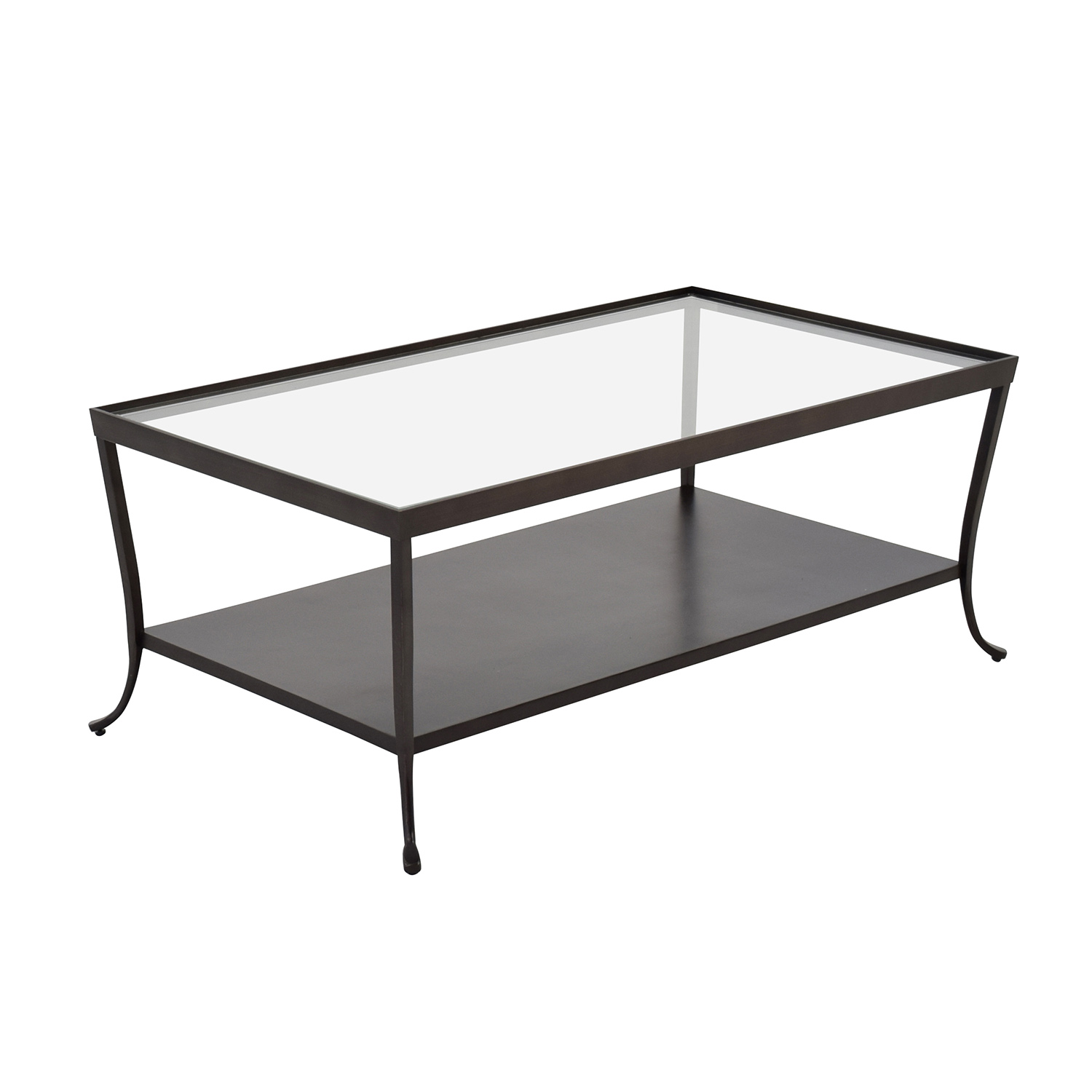 84 off metal base with glass top coffee table tables for Coffee tables glass top