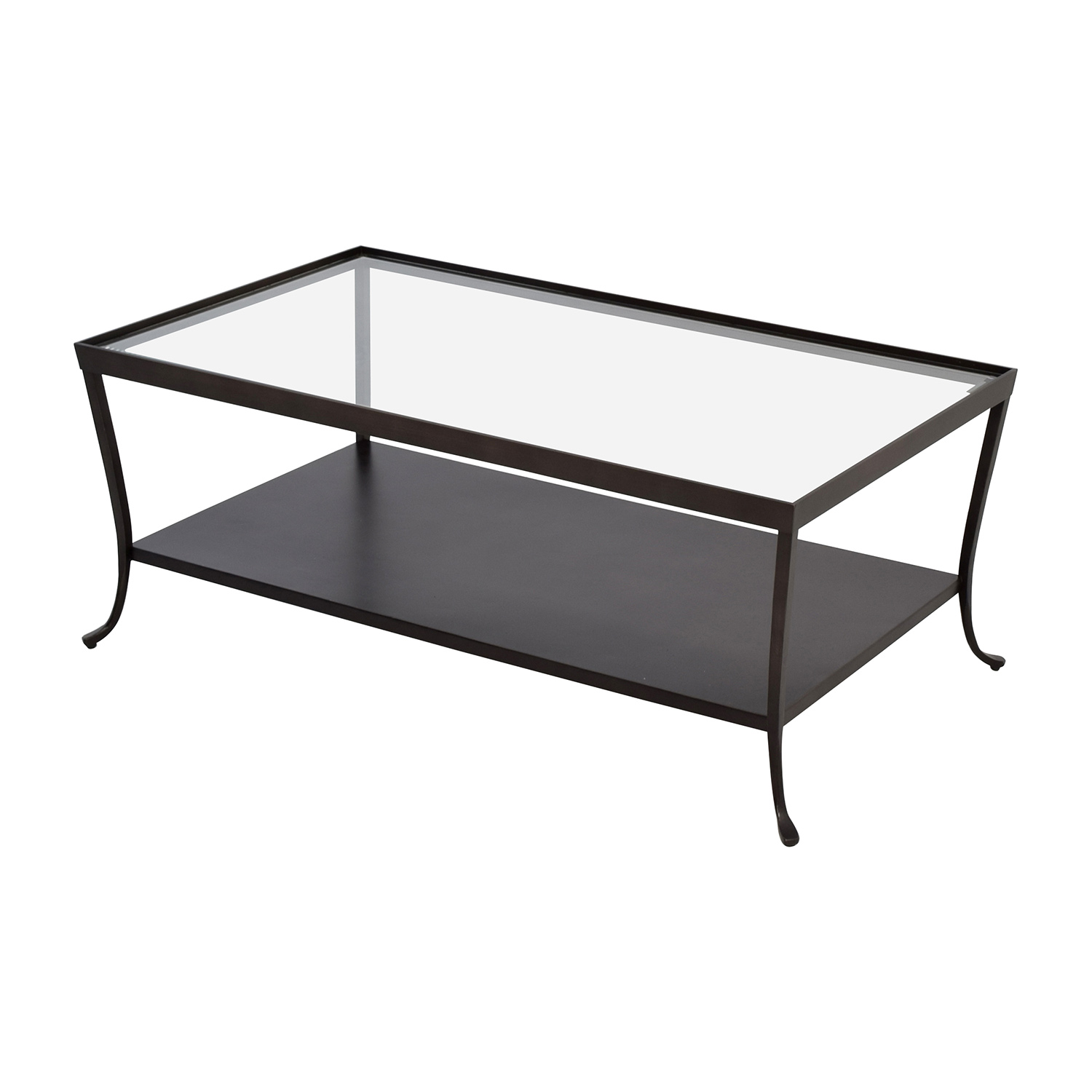 84 off metal base with glass top coffee table tables Used glass coffee table