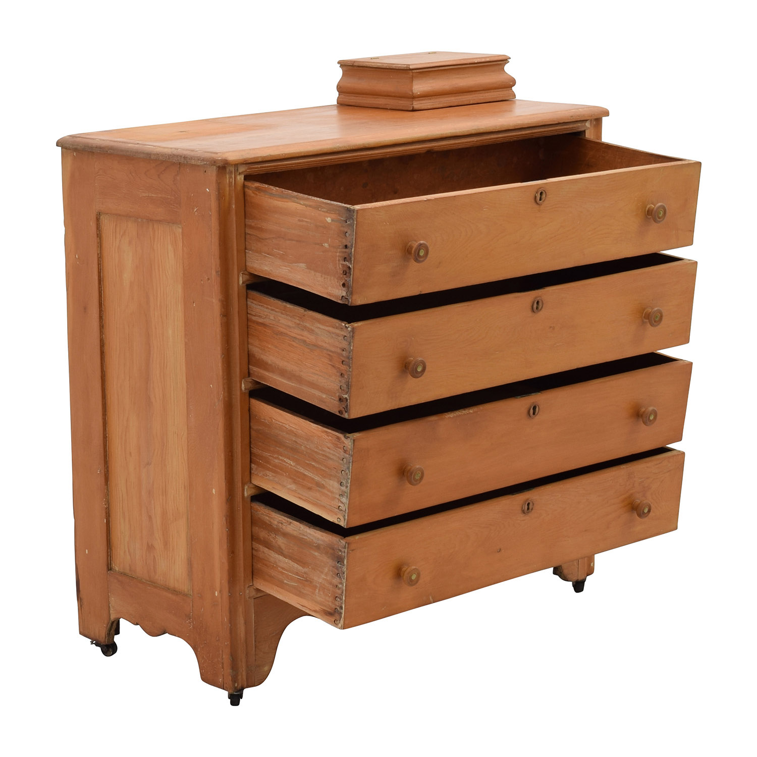 ... Antique Dovetailed Four Drawer Dresser With Jewelry Box / Storage ...