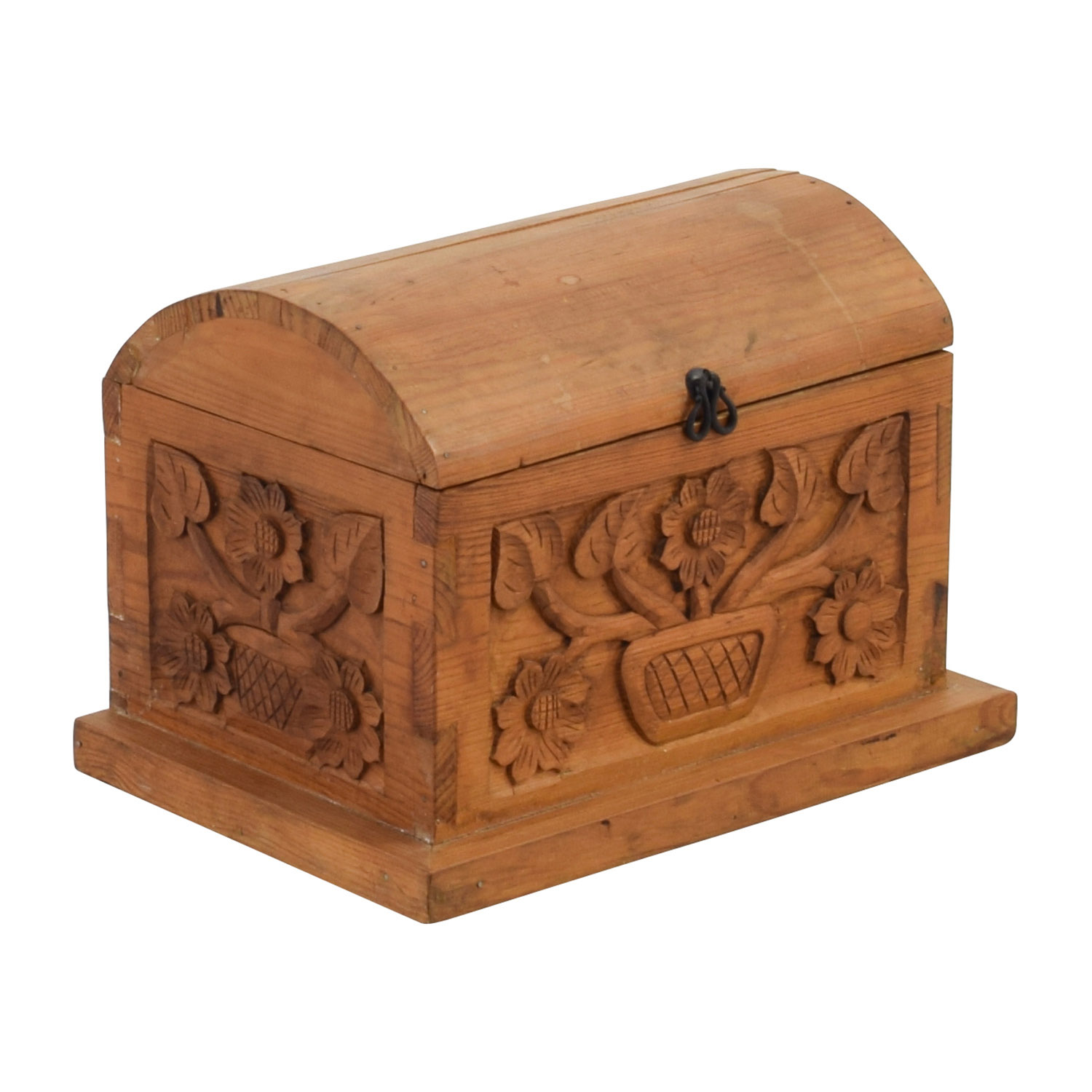 Off small floral carved pine wood chest storage