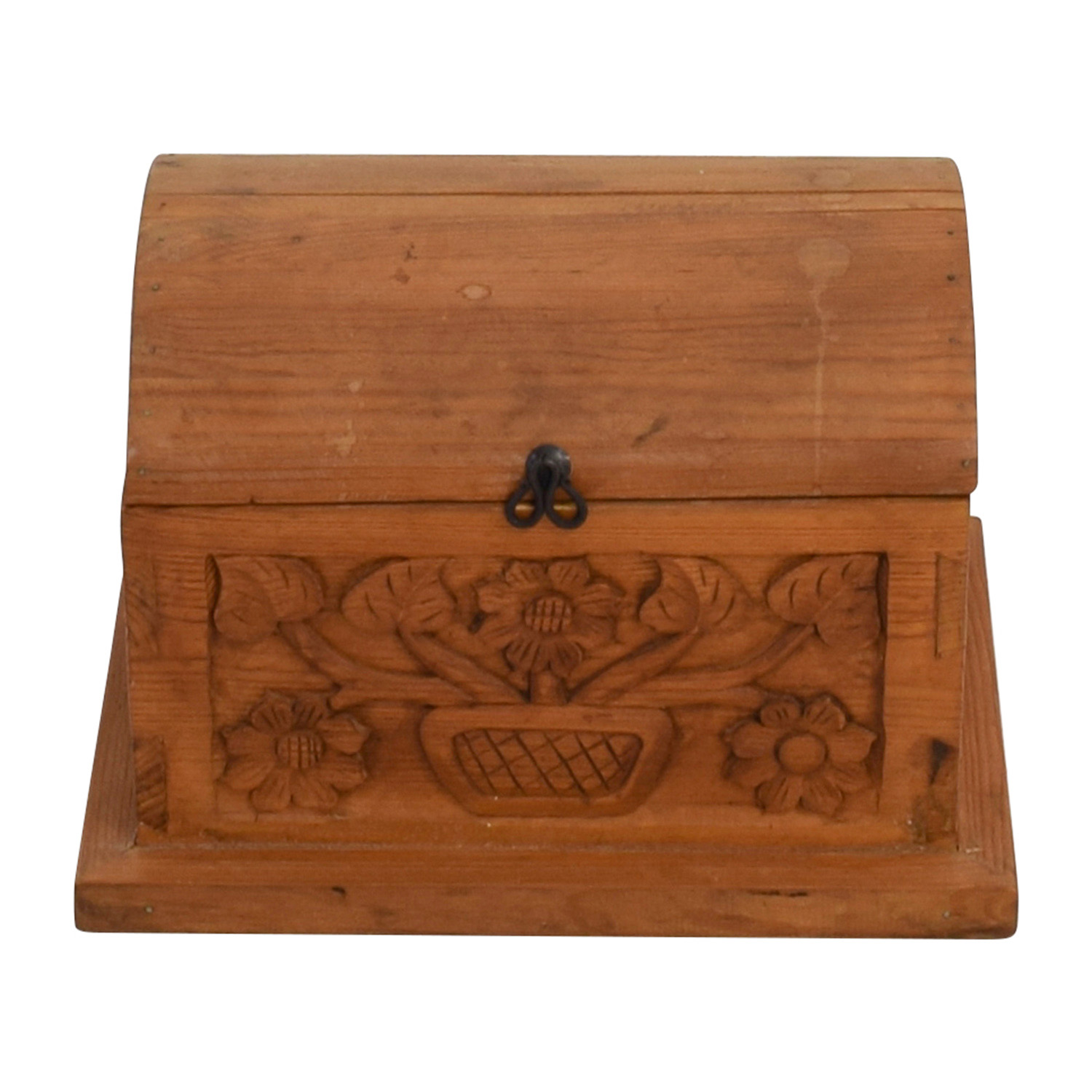 shop Small Floral Carved Pine Wood Chest