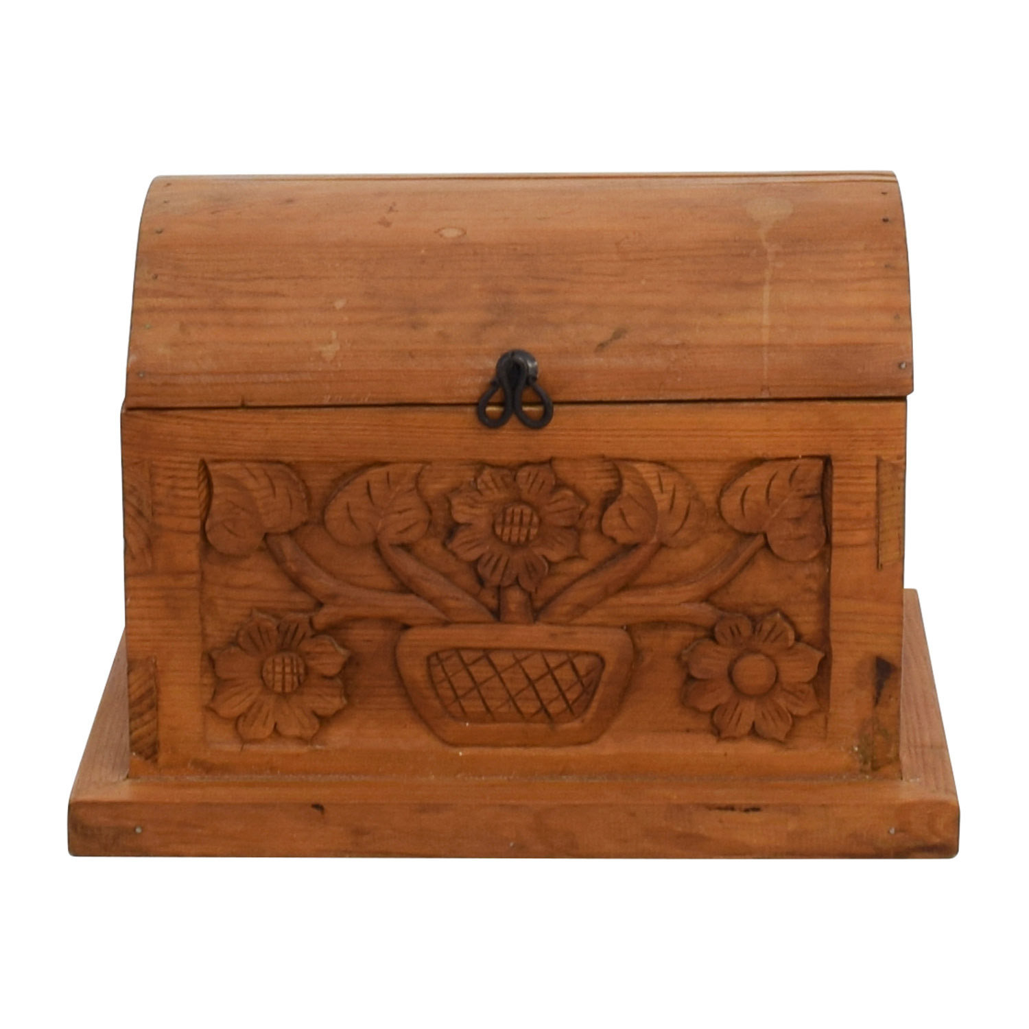 Small Floral Carved Pine Wood Chest Trunks
