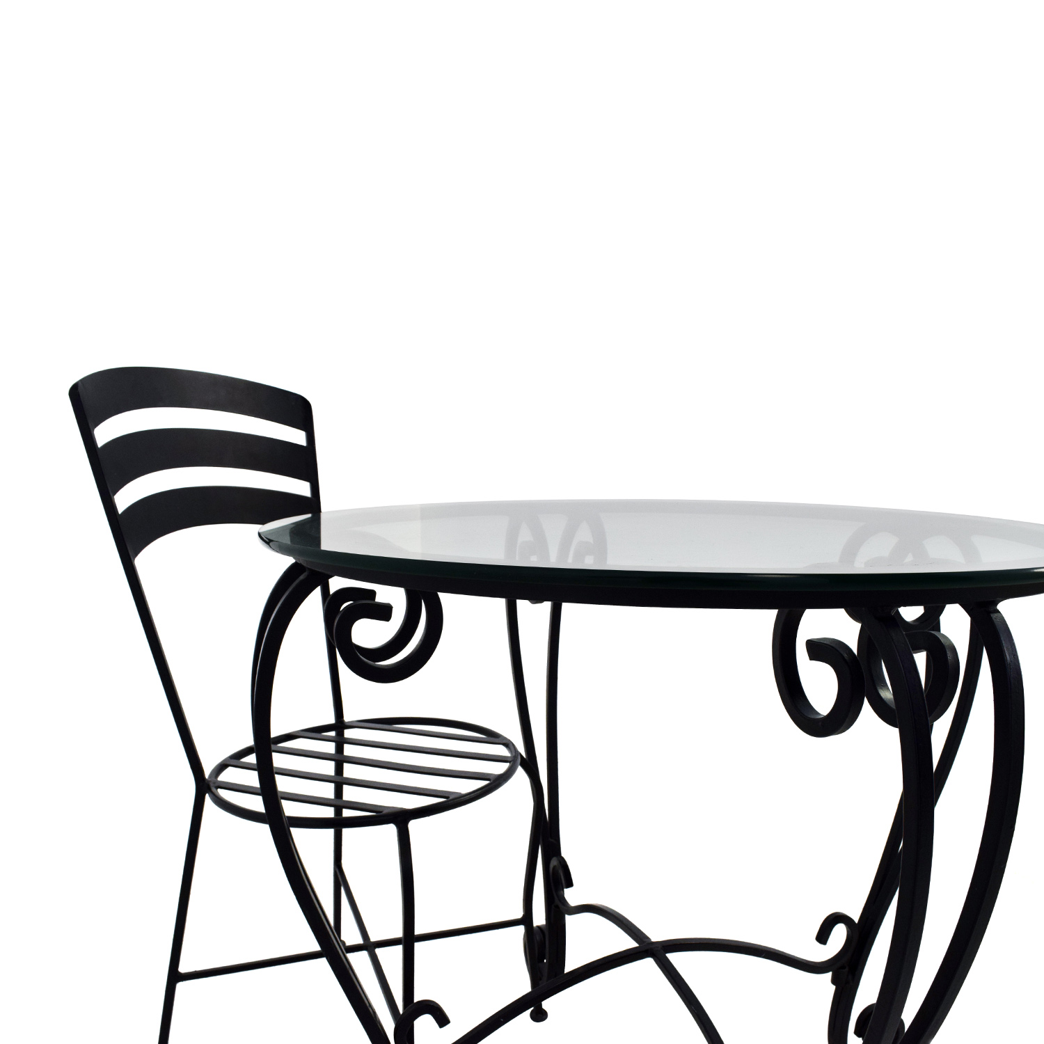 71 OFF Wrought Iron Round Glass Top Breakfast Table Tables