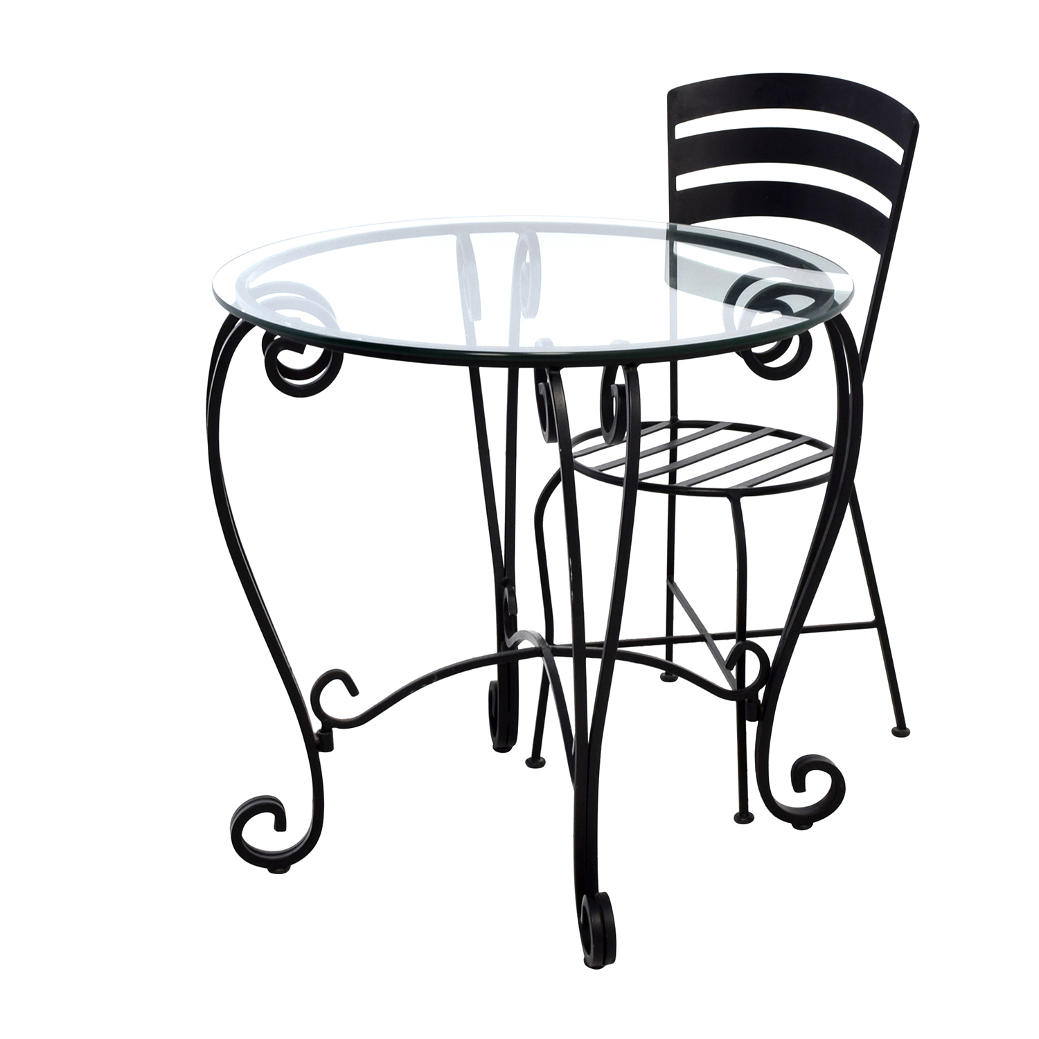 71 off wrought iron round glass top breakfast table for Round glass top coffee table wrought iron