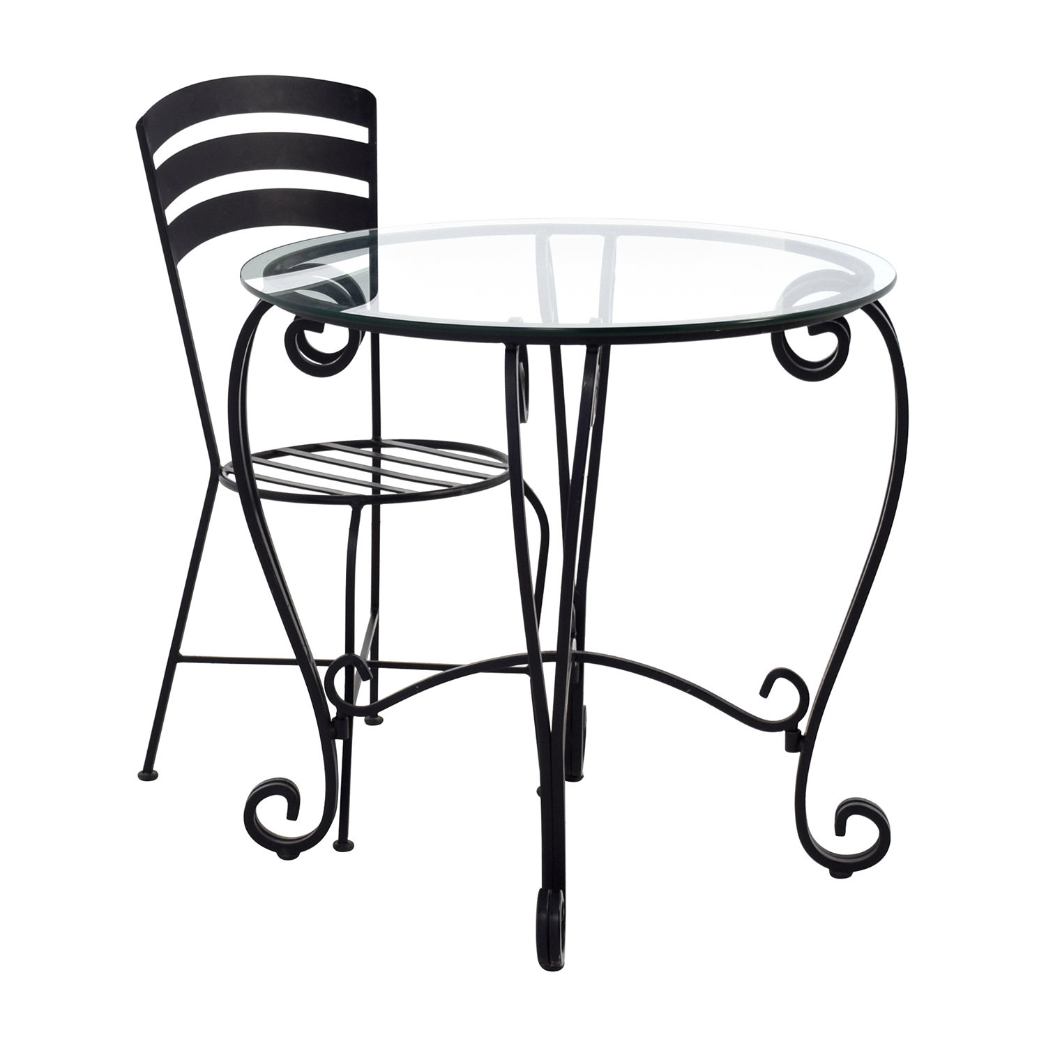 ... Buy Wrought Iron Round Glass Top Breakfast Table Tables ...