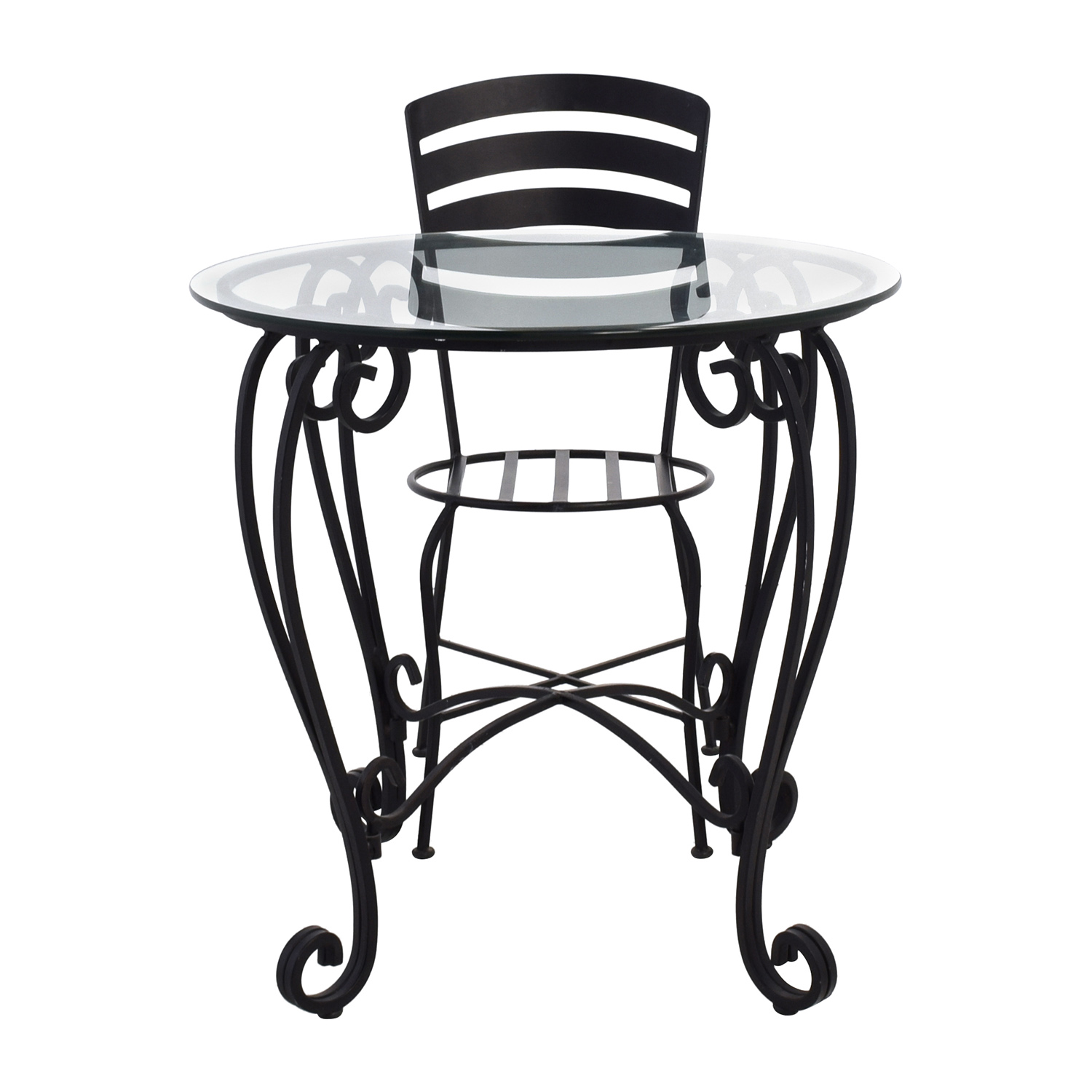 Wrought Iron Round Glass Top Breakfast Table Used