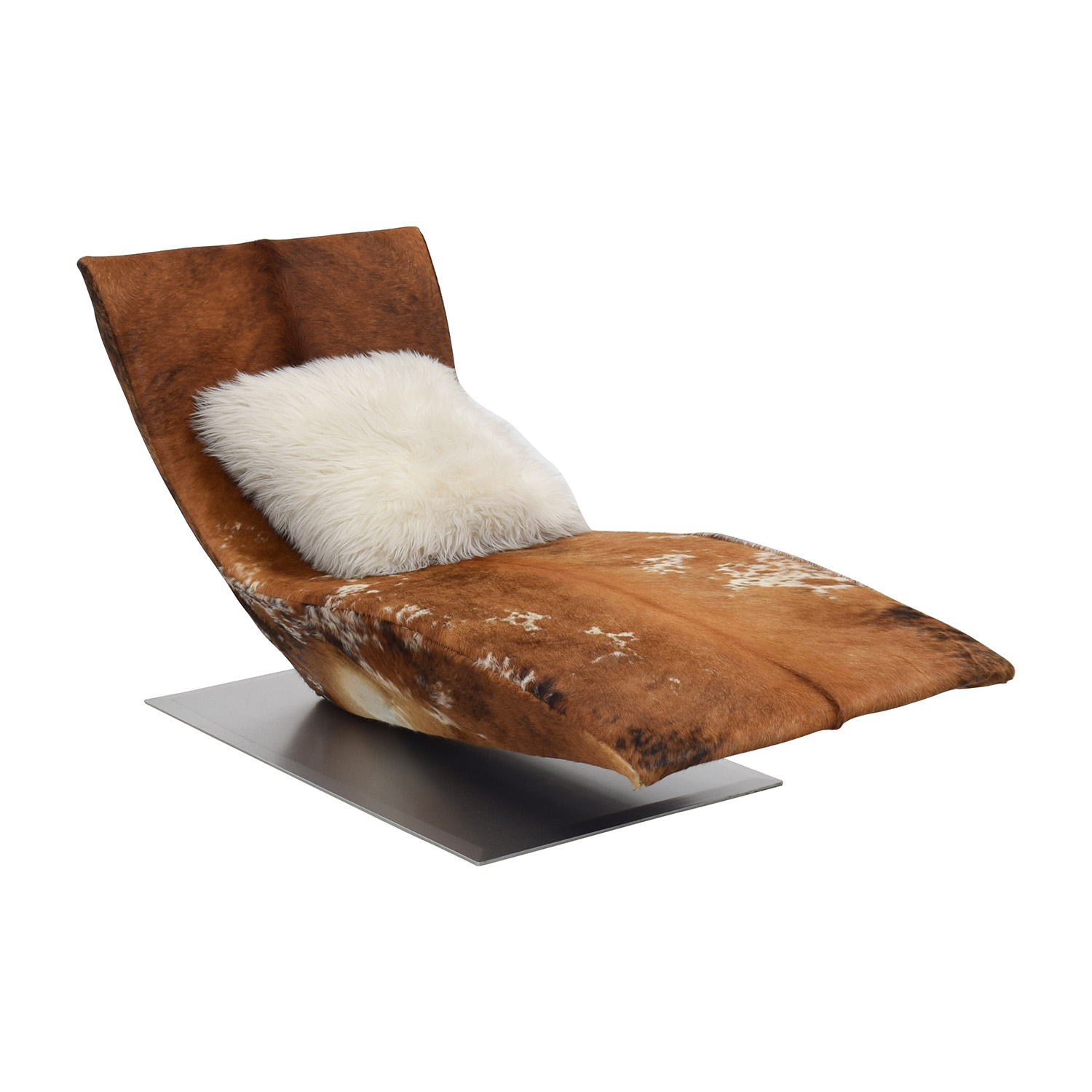 Leather Cow Hide Accent Chaise Chair for sale