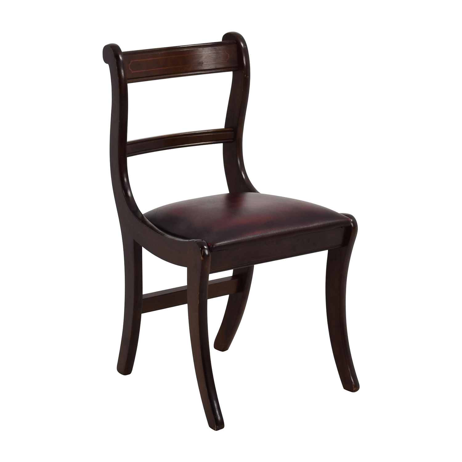 78 off dark wood chair with leather seat chairs. Black Bedroom Furniture Sets. Home Design Ideas