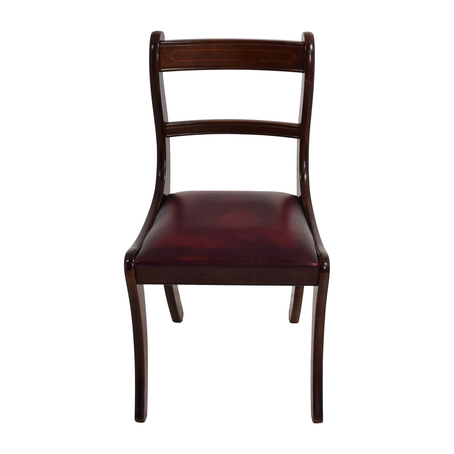 Dark Wood Chair with Leather Seat for sale