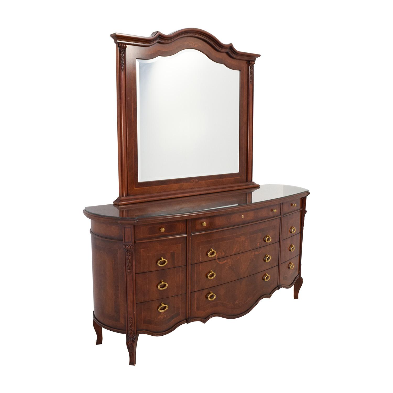 Off antique european wood dresser with mirror storage