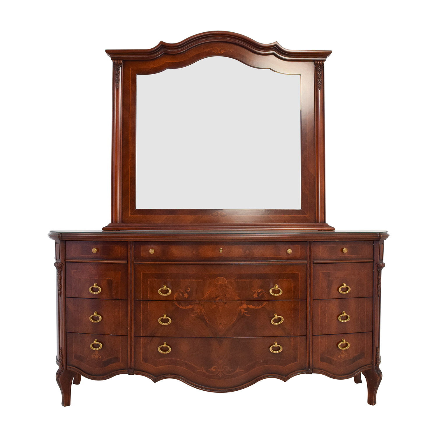90 Off Antique European Wood Dresser With Mirror Storage