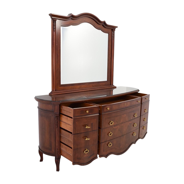 90 Off Antique European Wood Dresser With Mirror Storage