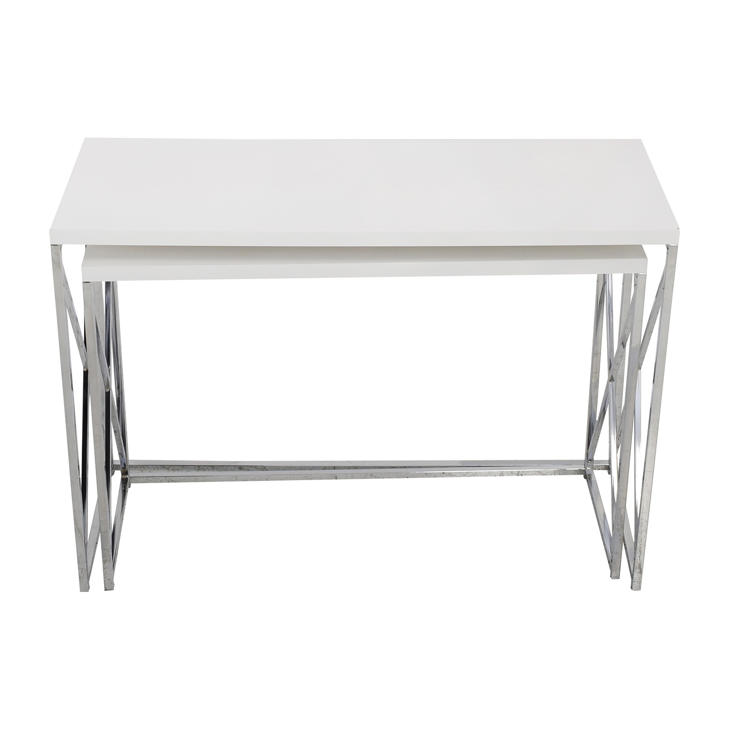 Monarch Specialties White and Chrome Nesting Console Tables / Accent Tables