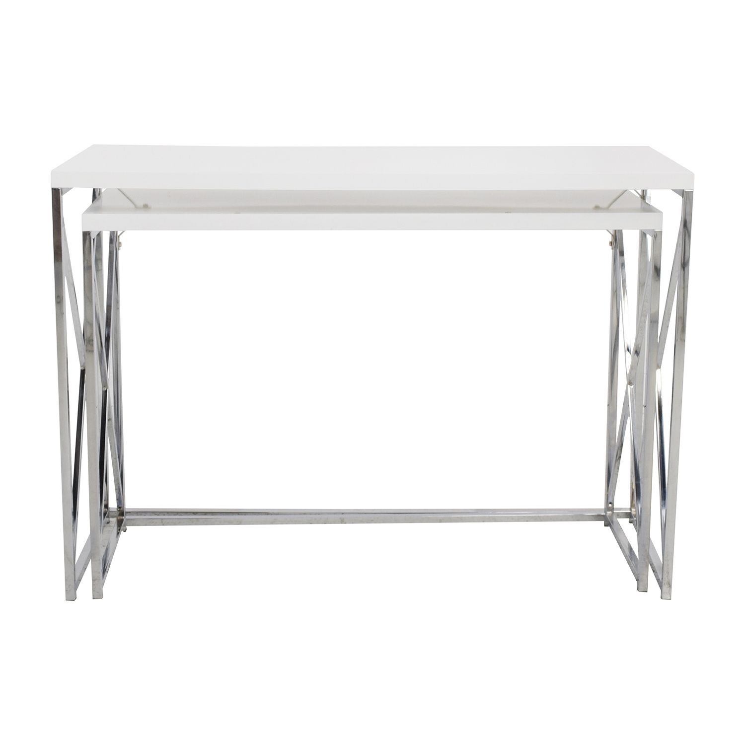 Monarch Specialties Monarch Specialties White and Chrome Nesting Console Tables for sale