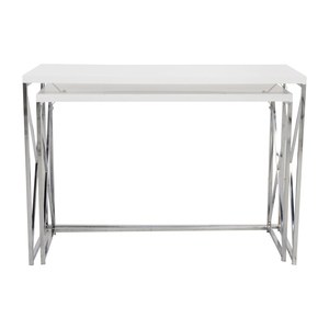 Monarch Furniture Monarch Specialties White and Chrome Nesting Console Tables coupon