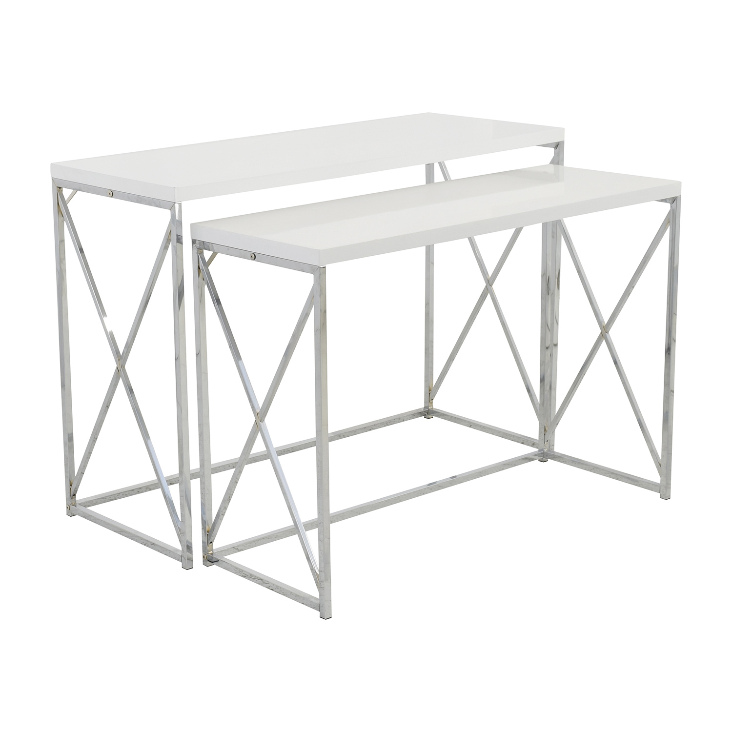 ... Shop Monarch Specialties White And Chrome Nesting Console Tables  Monarch Specialties Tables ...