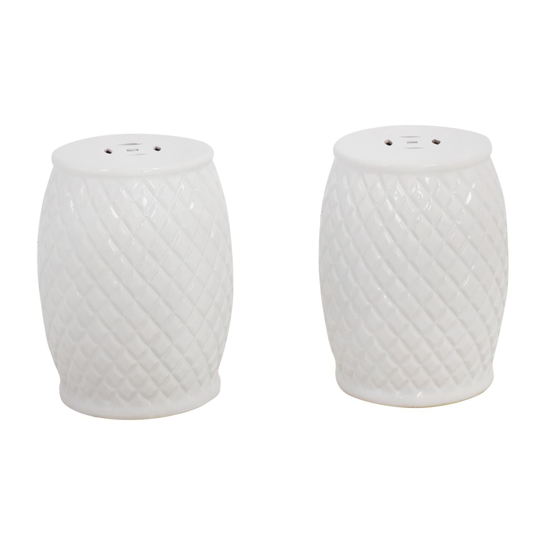 Savafieh Savafieh Calla White Quilted Ceramic Garden Stools Chairs