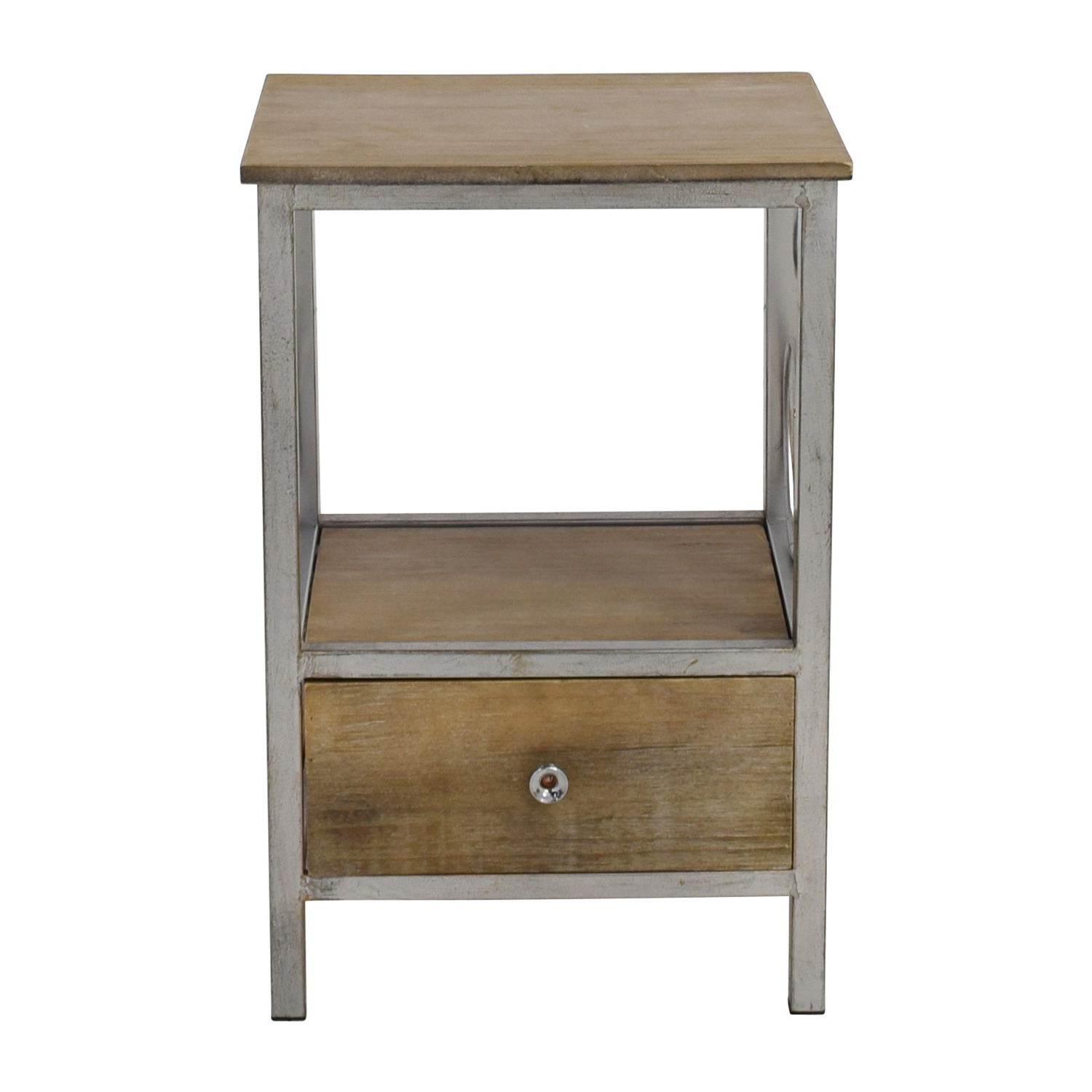 Rustic Wood and Metal Nightstand discount