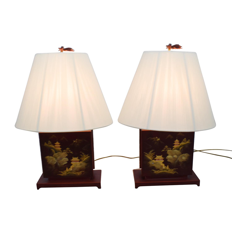 Oriental Landscape Metal Lamps