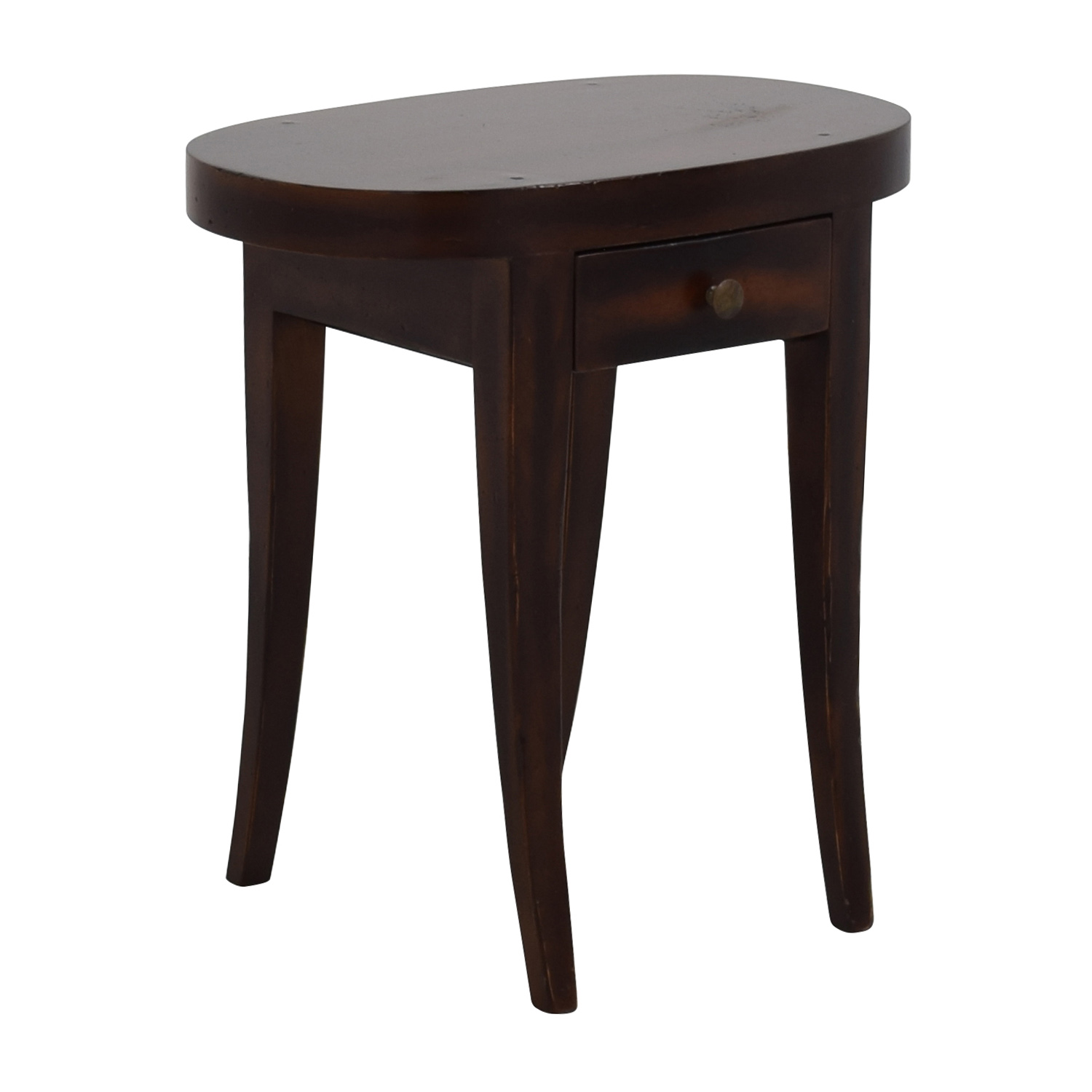 83 off oval dark wood side table with one drawer tables for Black wood side table